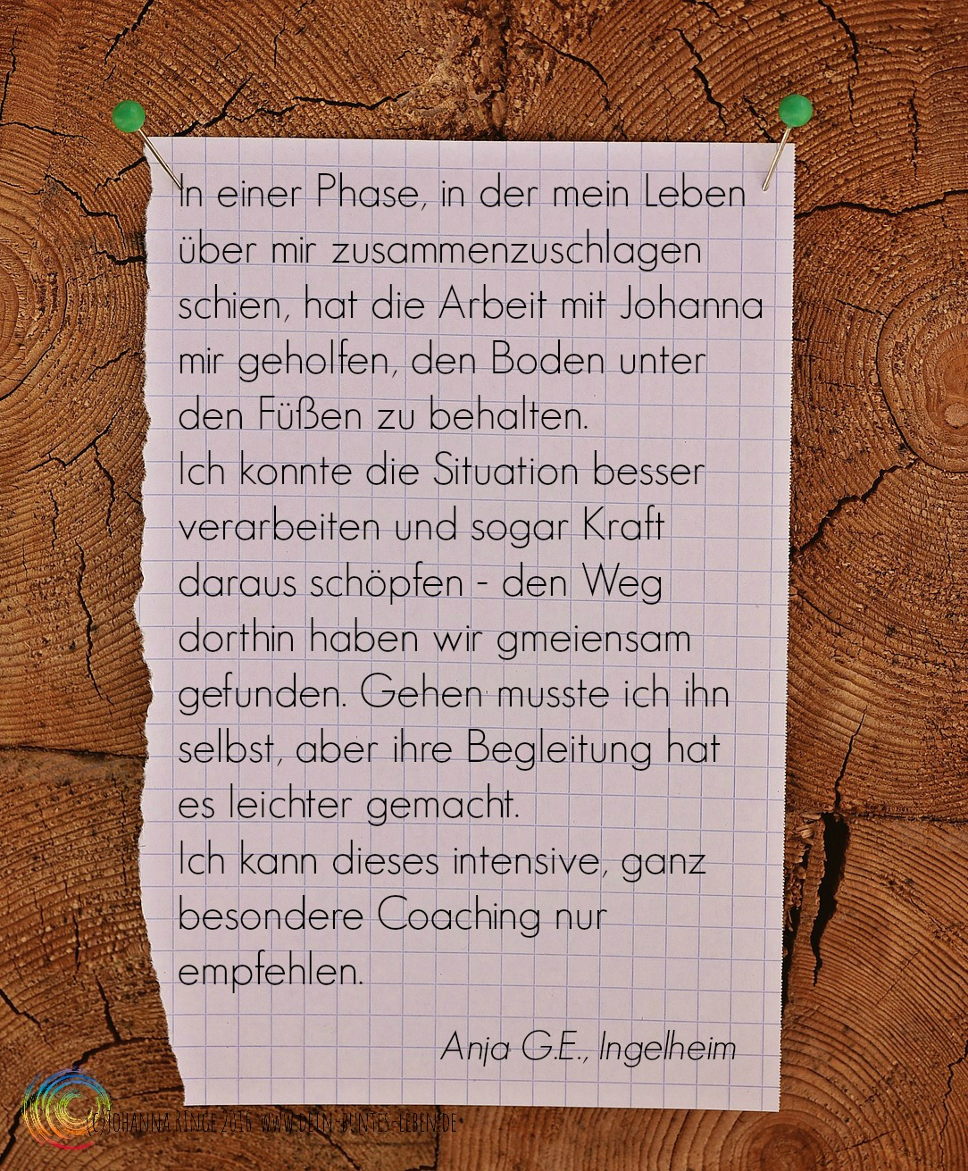 Anja G E über Johanna Ringe www.dein-buntes-leben.de