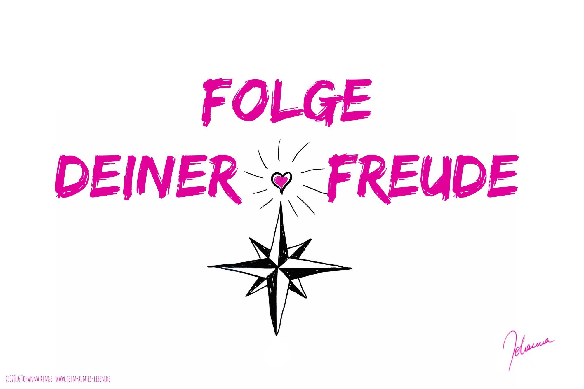 Folge Deiner Freude! (c)2016 Johanna Ringe www.dein-buntes-leben.de www.vielbegabt.coach