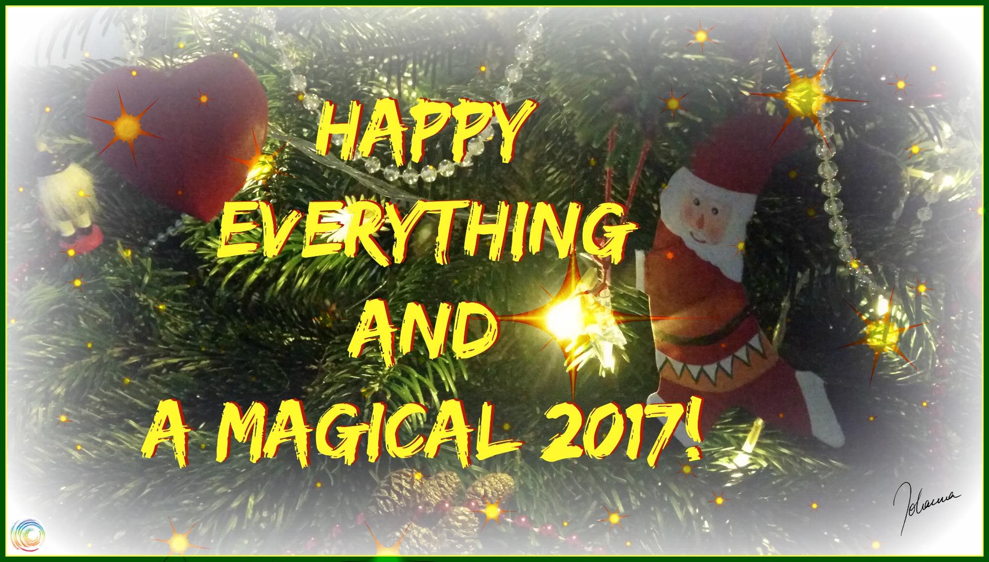 Weihnachtsschmuck mit Text: Happy everything and a magical 2017! (c) Johanna Ringe 2016 www.dein-buntes-leben.de