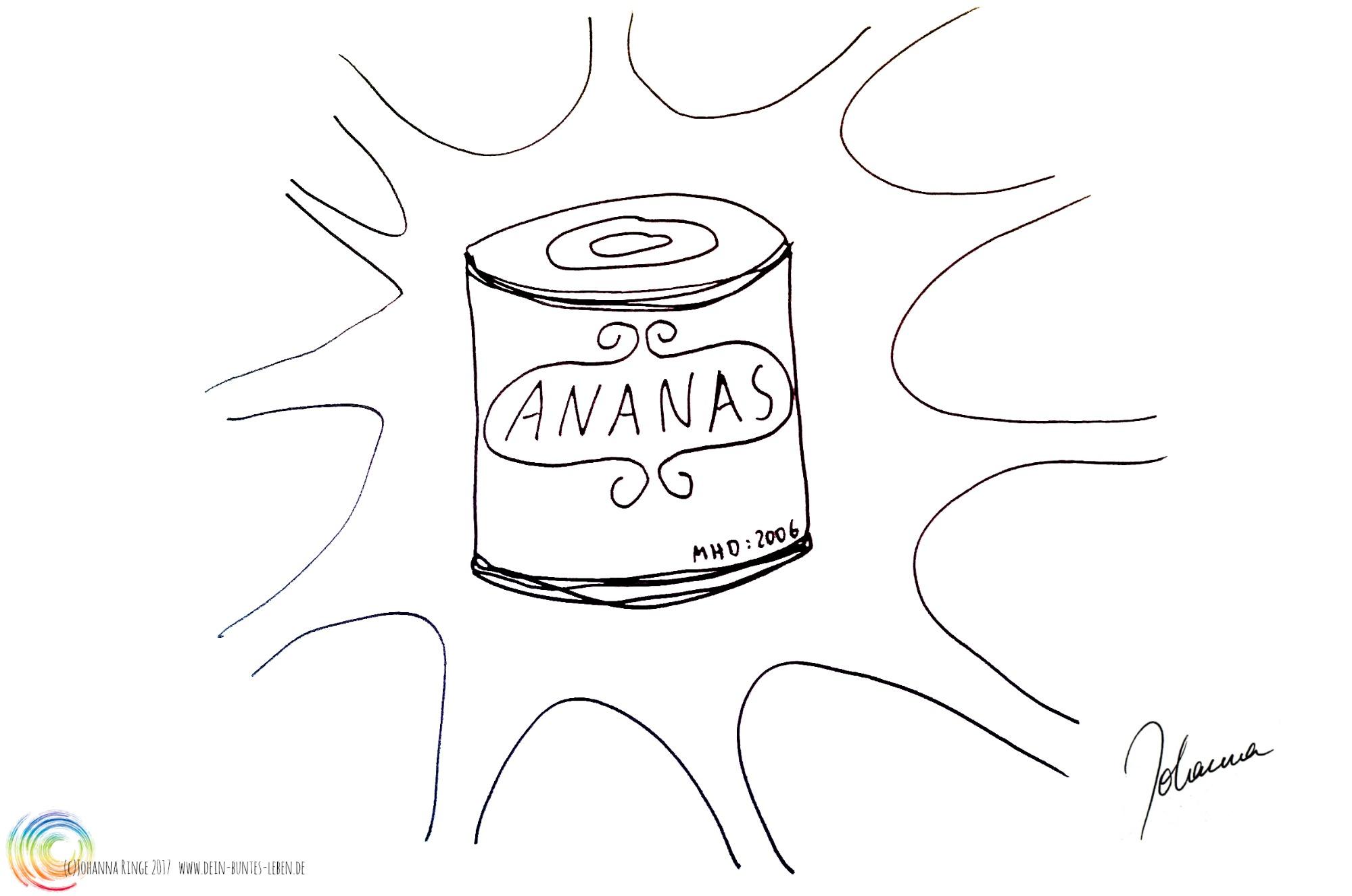 Gezeichnete Dose Ananas (Etwas zum Abschluss zu bringen tut nicht weh!) (c) Johanna Ringe 2017 www.dein-buntes-leben.de