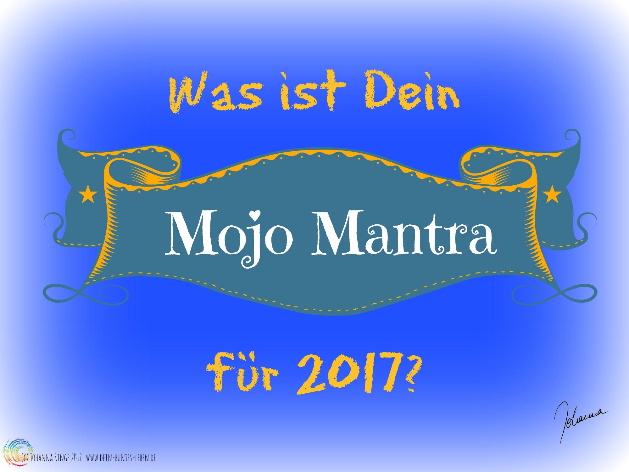 """Schriftzug """"Was ist Dein Mojo Mantra für 2017?"""" auf verziertem Label. (c) Johanna Ringe 2017 www.dein-buntes-leben.de"""