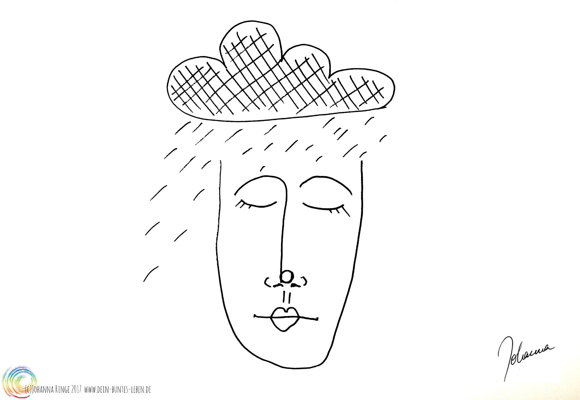 Zeichnung eines Gesichts unter dunkler Regenwolke: Depression, (c)Johanna Ringe 2017 www.dein-buntes-leben.de