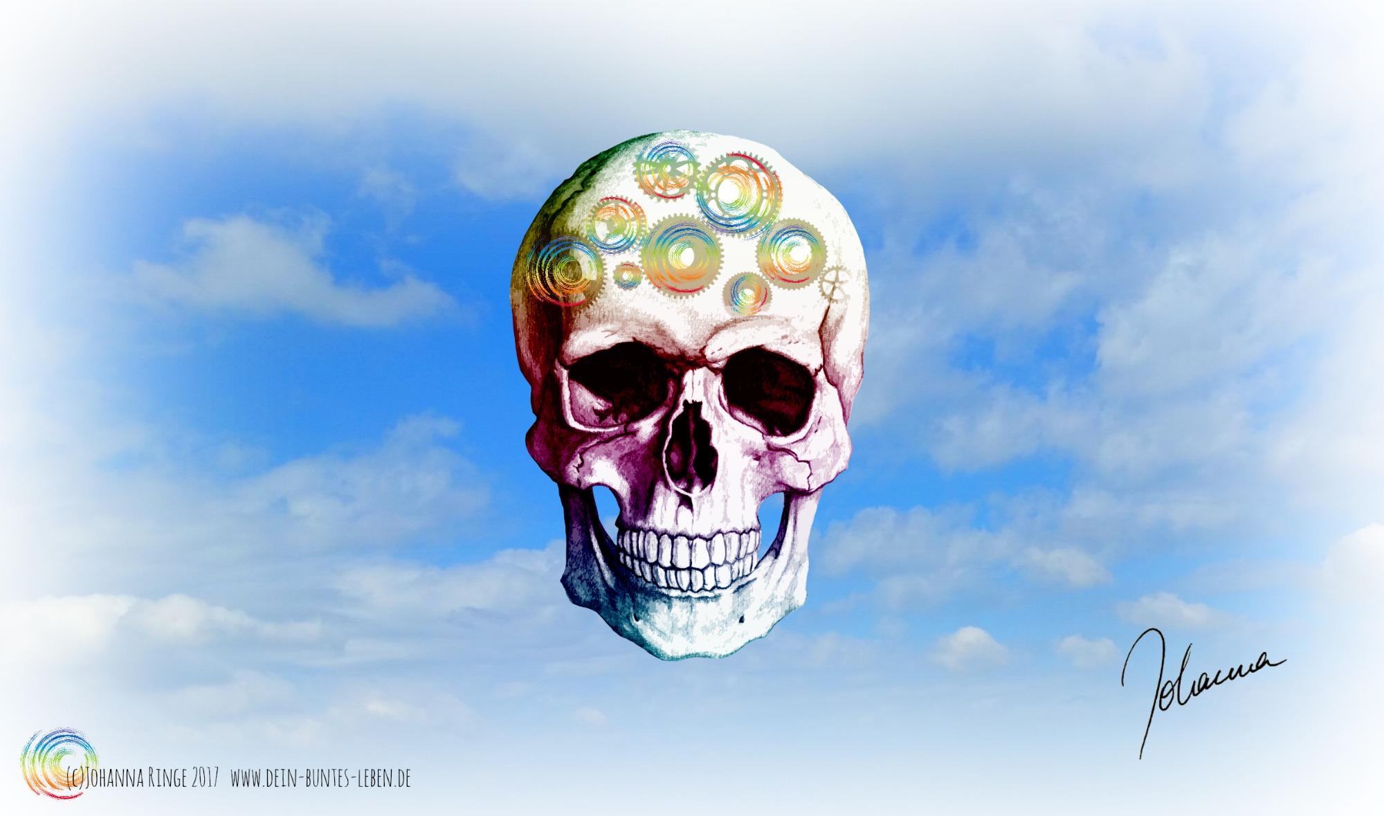 Ein Schädel mit Zahnrädern auf der Stirn schwebt in einem hellen Sommerwolkenhimmel: IQ-Test (c) Johanna Ringe 2017 www.dein-buntes-leben.de
