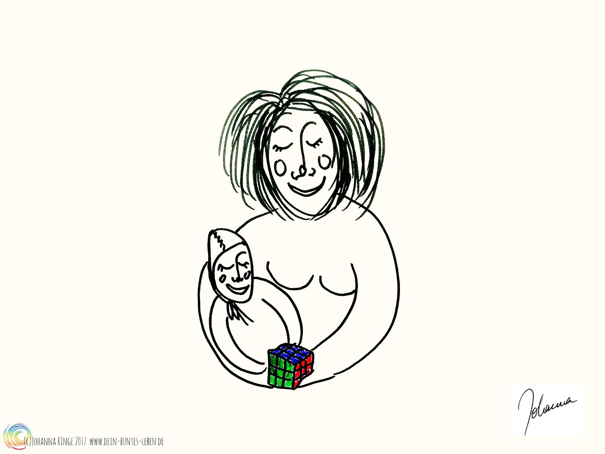 Zeichnung von Mutter und Kind mit Zauberwürfel : Vom Selbstbild der Mutter hochbegabter Kinder, (c)Johanna Ringe 2017 www.dein-buntes-leben.de