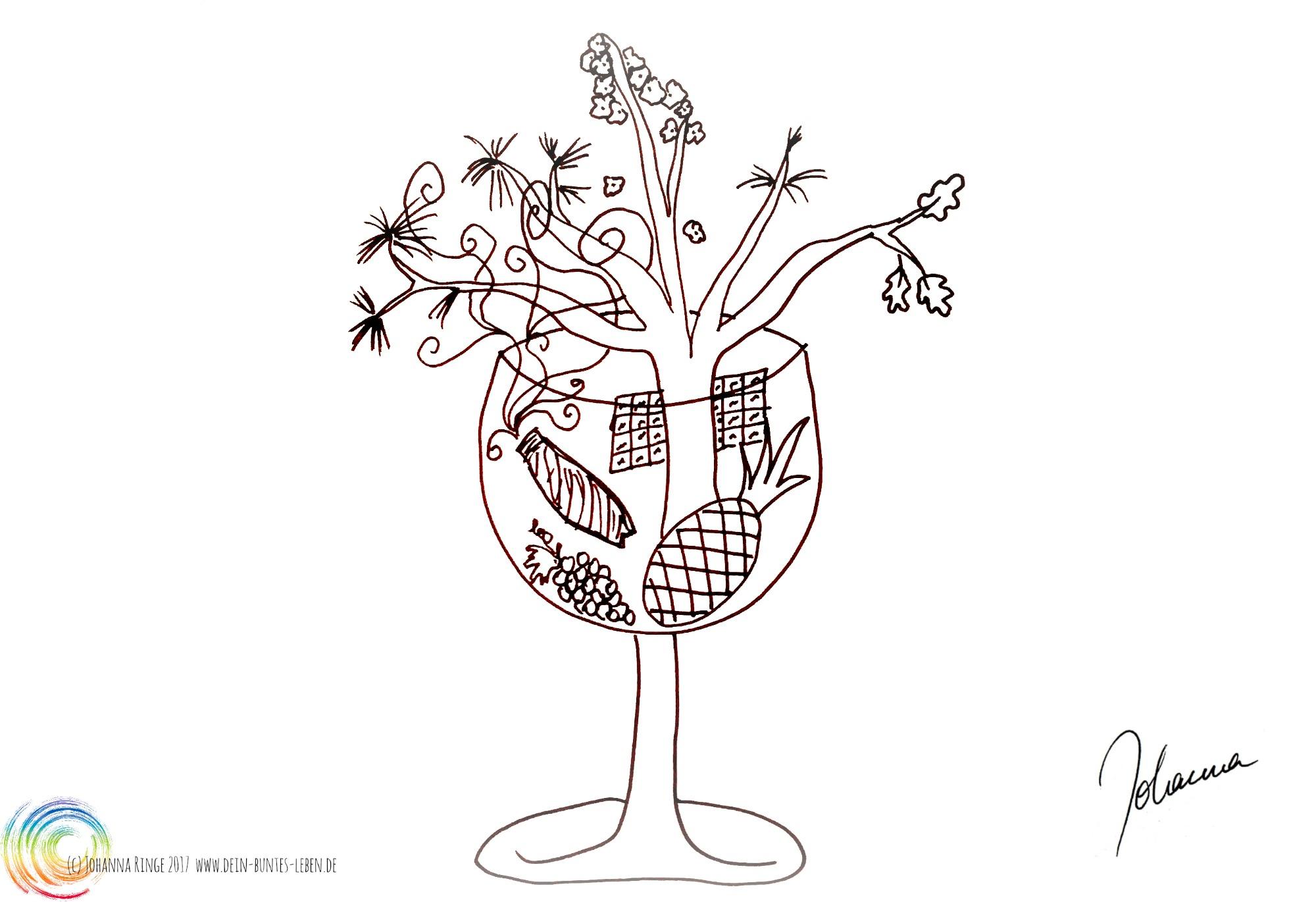 Zeichnung eines Weinglases aus dem ein Baum wächst, eine Ananas, eine Zigarre, Trauben und eine Schokoladentafel : Konfliktpotential (c) 2017 Johanna Ringe www.dein-buntes-leben.de (c)