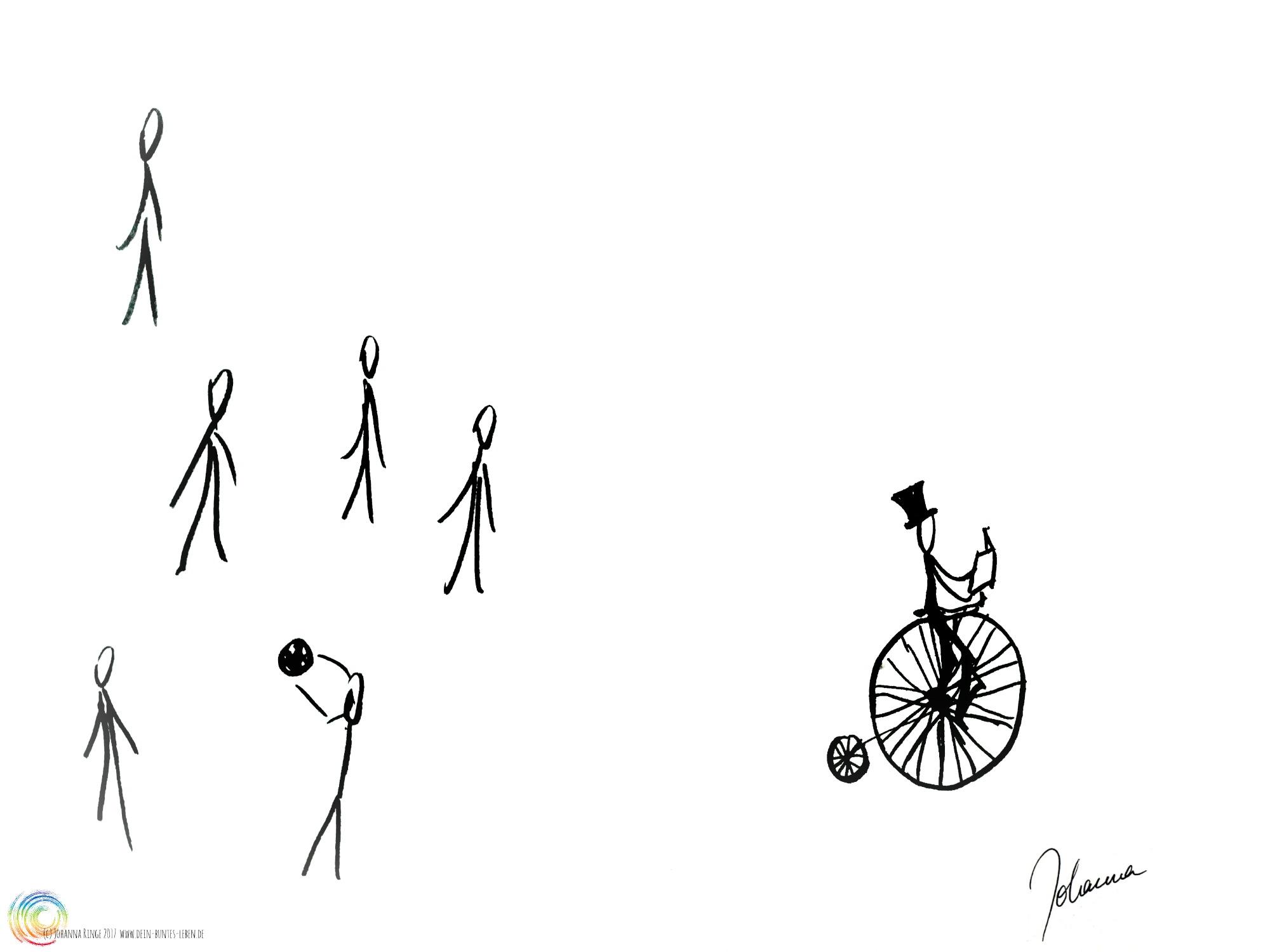 Zeichnung von mehreren ballspielenden Kindern und einem Kind auf einem Hochrad lesend. Kinder! (c) 2017 Johanna Ringe www.dein-buntes-leben.de