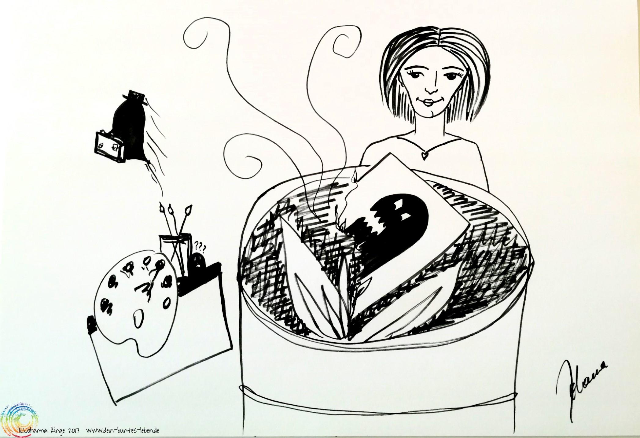 Geisteraustreibende Kreativität: Zeichnung einer Frau, die ein Bild eines Monsters verbrennt, während im Hintergrund das Monster mit Koffer weggeht. (c) 2017 Johanna Ringe www.dein-buntes-leben.de