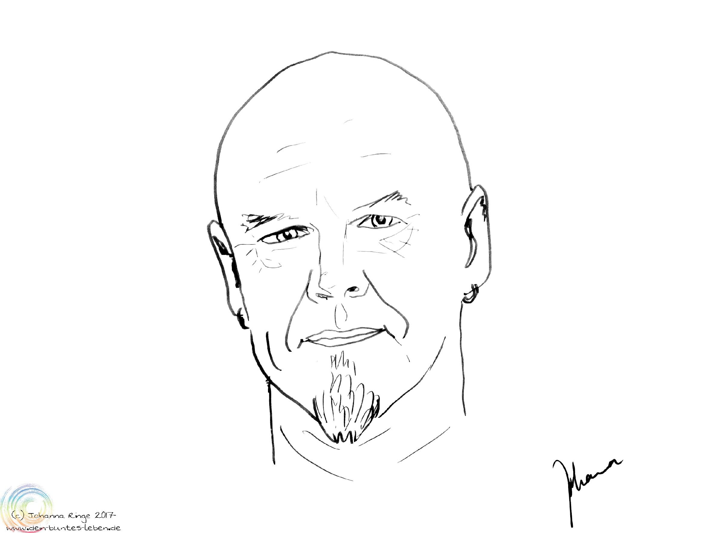 Zeichnung des Gesichtes von Tad Williams. (c)2017 Johanna Ringe www.dein-buntes-leben.de