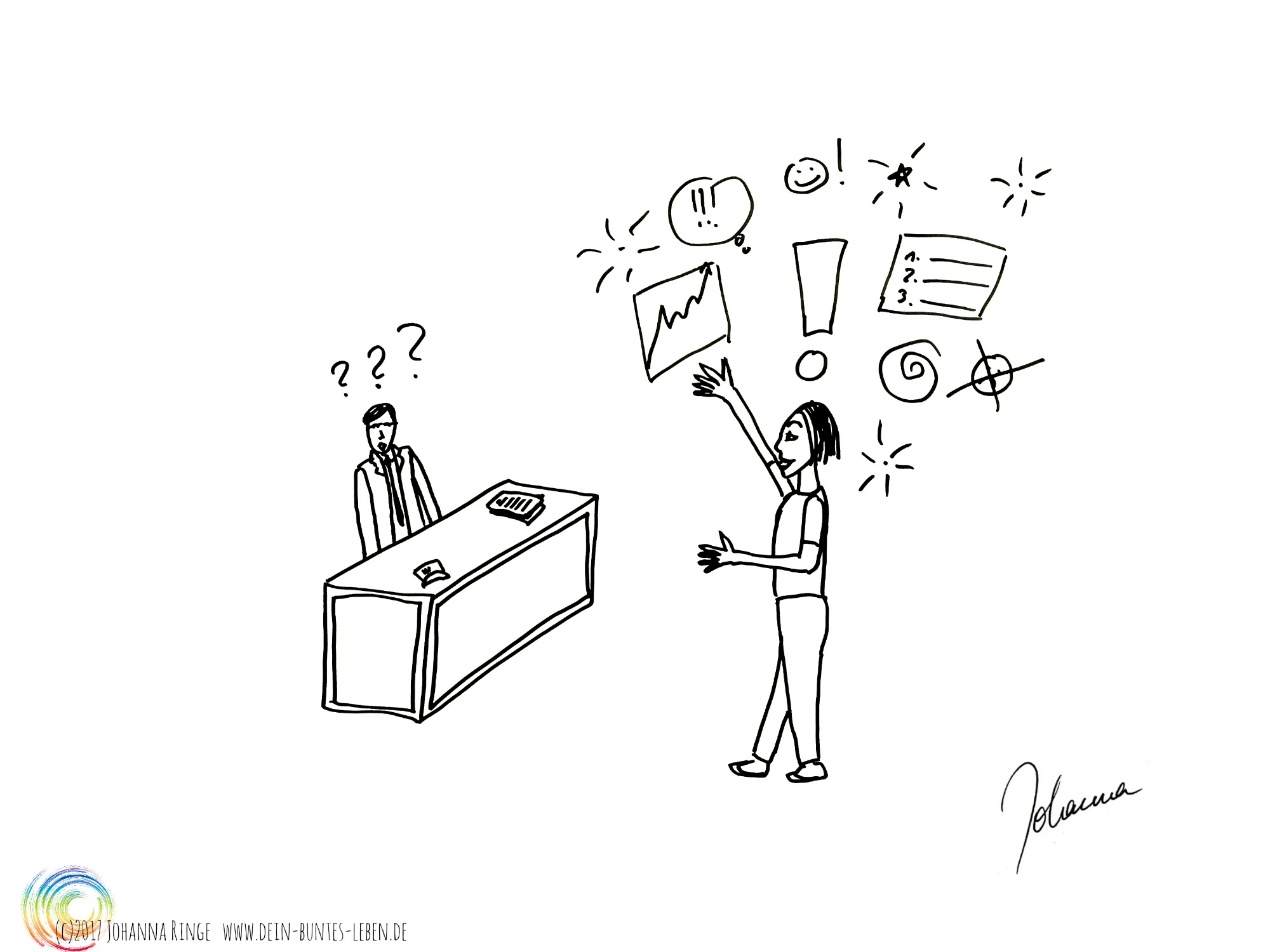 Konkurrenz oder Begeisterung: Ein fassungsloser Chef sitzt hinter dem Schreibtisch, während ein Mitarbeiter vor ihm übersprudelnd eine Idee darlegt. Zeichnung (c)Johanna RInge 2017 www.dein-buntes-leben.de
