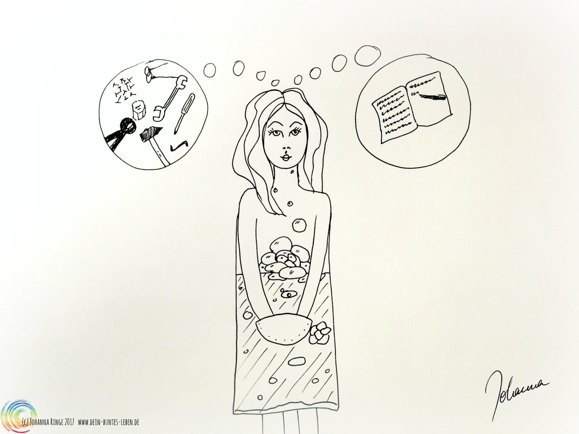 """Entscheiden als Gärungsprozess dargestellt als gezeichnetes Mädchen mit Gärung im Inneren und den Optionen """"Werkzeug"""" und """"Schreibzeug"""" über dem Kopf. (c) 2017 Johanna Ringe www.dein-buntes-leben.de"""