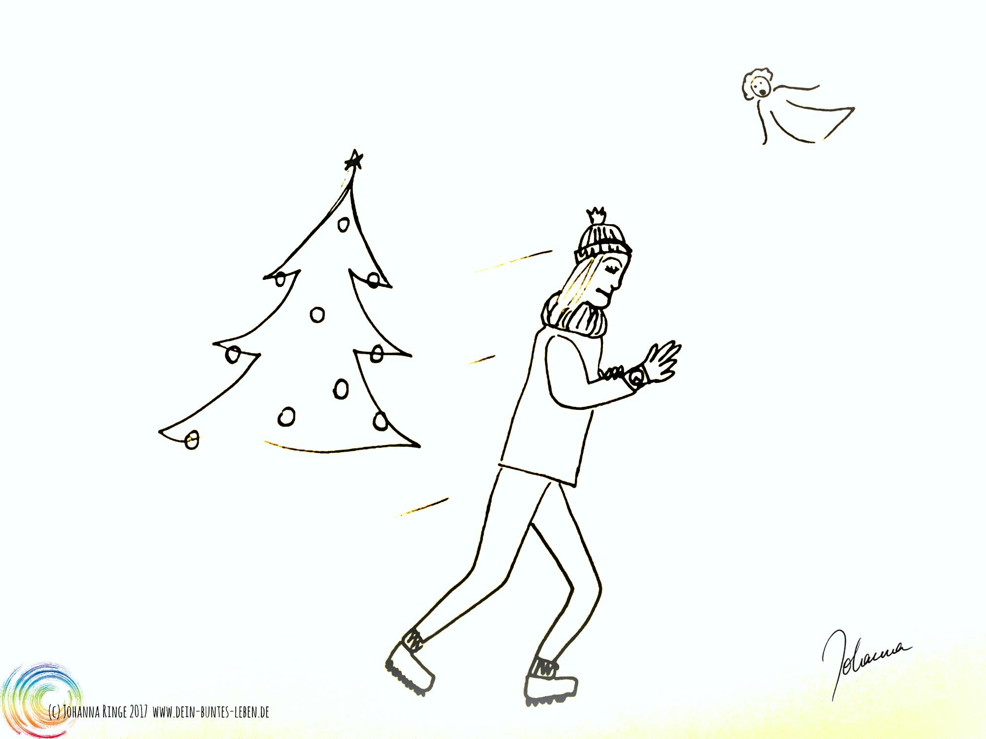Gehetzte Weihnachtszeit: Eine Person eilt, auf die Uhr sehend, an Weihnachtsbaum und Engel vorbei. (c)2017 Johanna Ringe www.dein-buntes-leben.de