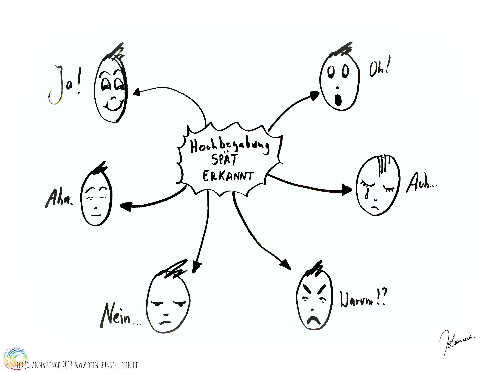 Hochbegabung spät erkannt, darum gezeichnet verschiedene Gesichtsausdrücke zwischen Schock, Verleugnung und Akzeptanz (c) 2018 Johanna Ringe www.dein-buntes-leben.de