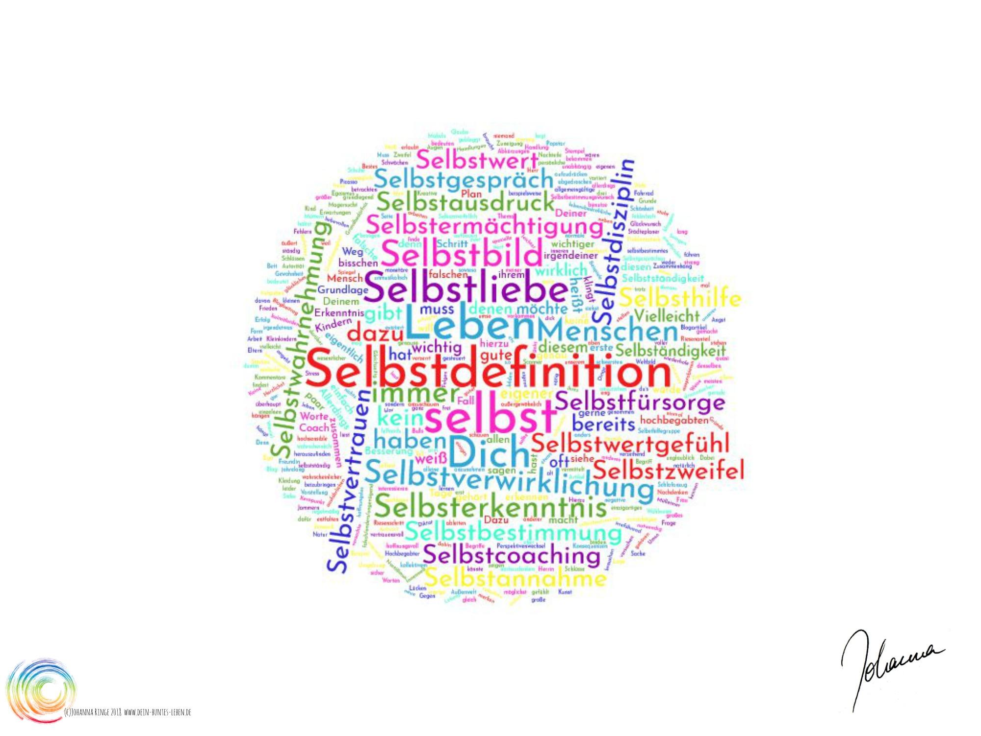 Selbstdefinition als kreisförmige Wörterwolke (c) 2018 Johanna Ringe www.dein-buntes-leben.de