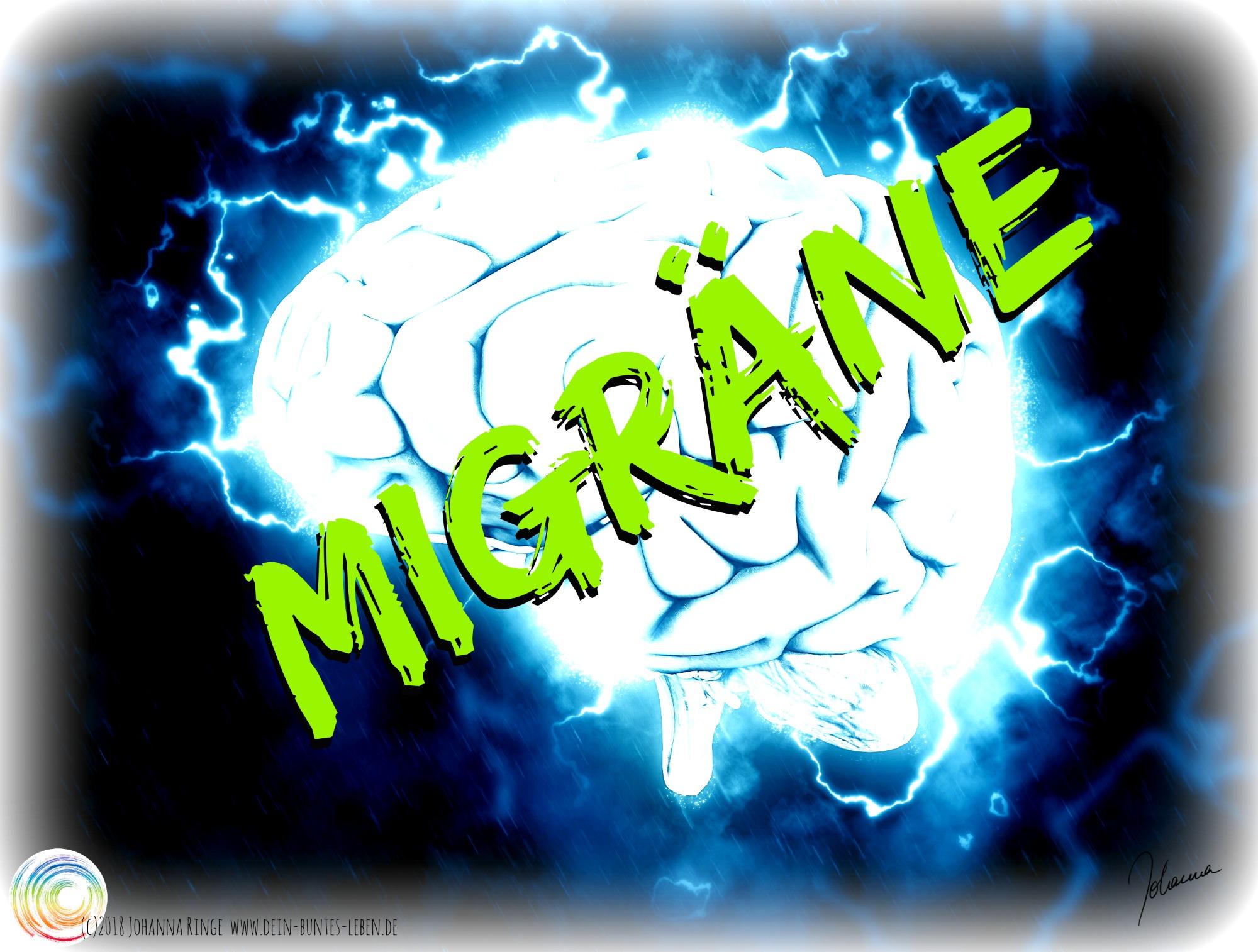 Migräne: der Schriftzug vor einem von Blitzen umzuckten Gehirn. (c)2018 Johanna Ringe www.dein-buntes-leben.de