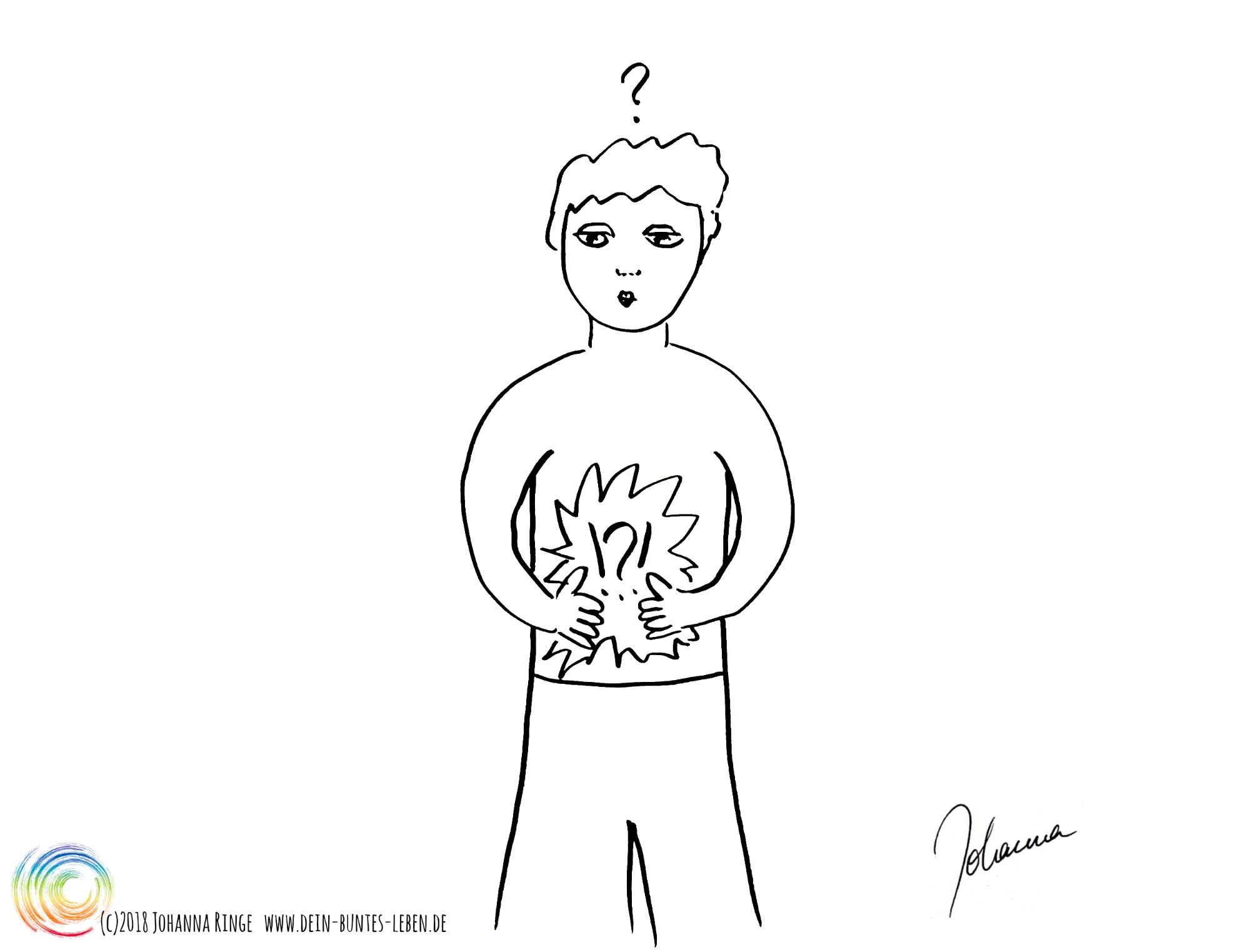 Bauchgefühl als Zeichnung: ein Mensch steht da und blickt fragend auf seinen Bauch, der Fragezeichen und Ausrufezeichen zeigt. (c) 2018 Johanna Ringe www.dein-buntes-leben.de