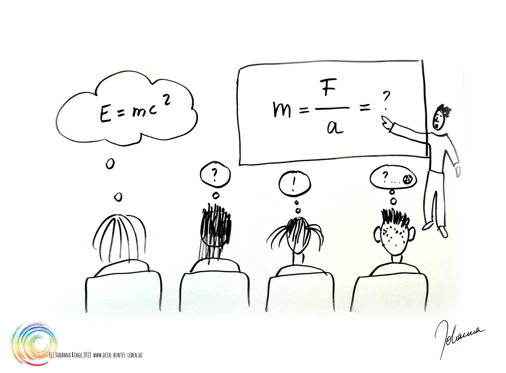"""Aufmerksamkeit: Zeichnung von Schulklasse im Physikunterricht. Man versucht zu verstehen, etliche denken Fragezeichen, einer denkt """" E=mc²"""". (c) 2018 Johanna Ringe www.dein-buntes-leben.de"""