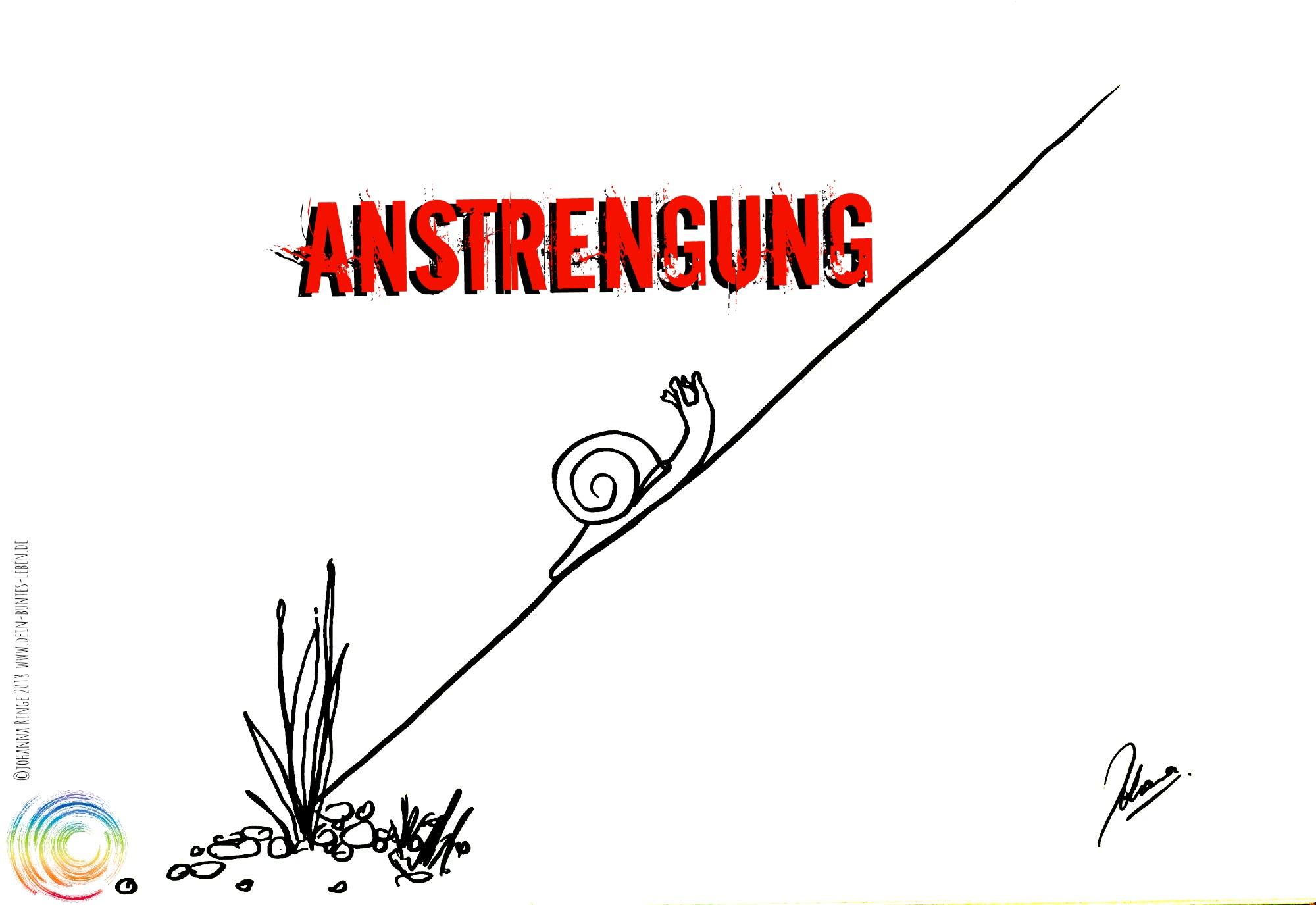 Anstrengung: eine Schnecke an einem steilen Hang.©2018 Johanna Ringe . www.dein-buntes-leben.de