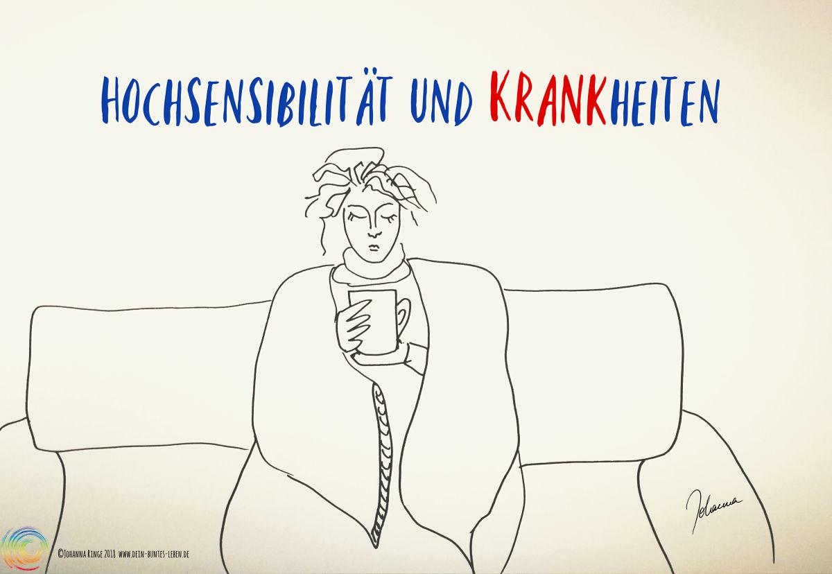 Hochsensibilität und Krankheiten: eine Person auf dem Sofa, in Decke gekuschelt mit Teetasse. Zeichnung ©2018 Johanna Ringe www.dein-buntes-leben.de