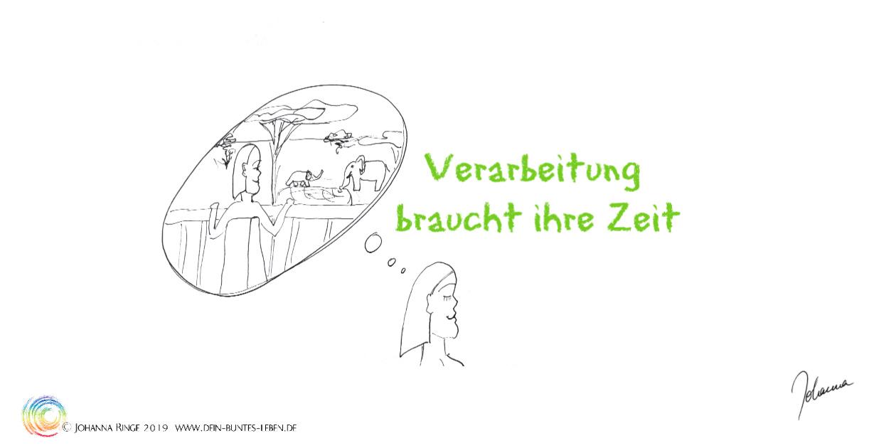 Verarbeitung bruacht ihre Zeit: Zeichnung einer Frau die sich an eine Begegnung mit Elefanten erinnert... ©Johanna Ringe 2019 www.dein-buntes-leben.de