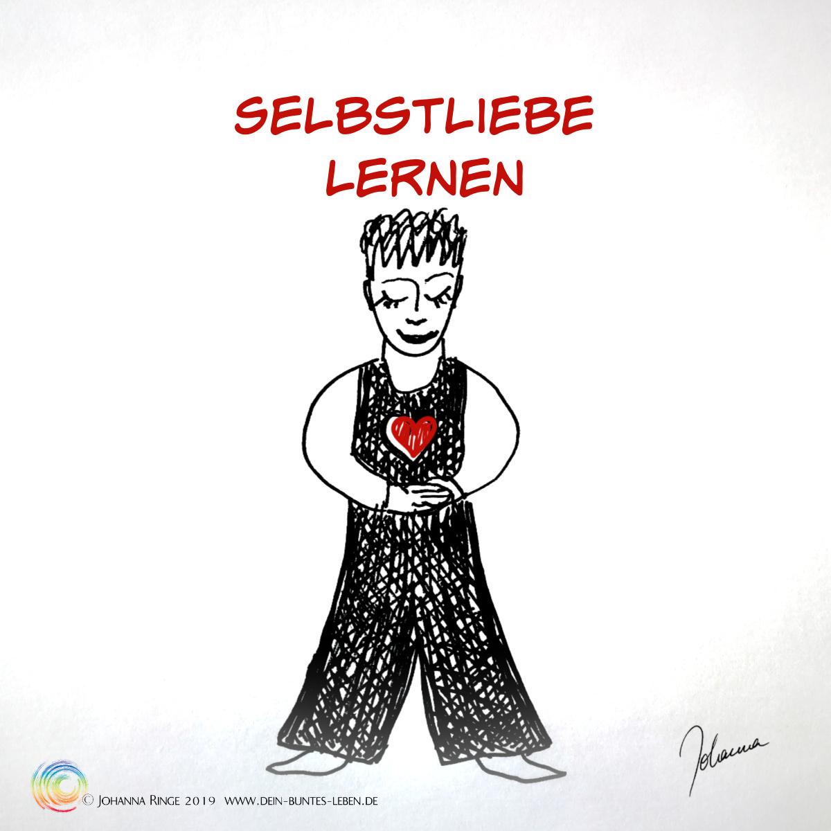 Selbstliebe lernen: Zeichnung eines Menschen, der nach innen spürend sein Herz leuchten lässt. ©Johanna Ringe 2019 www.dein-buntes-leben.de