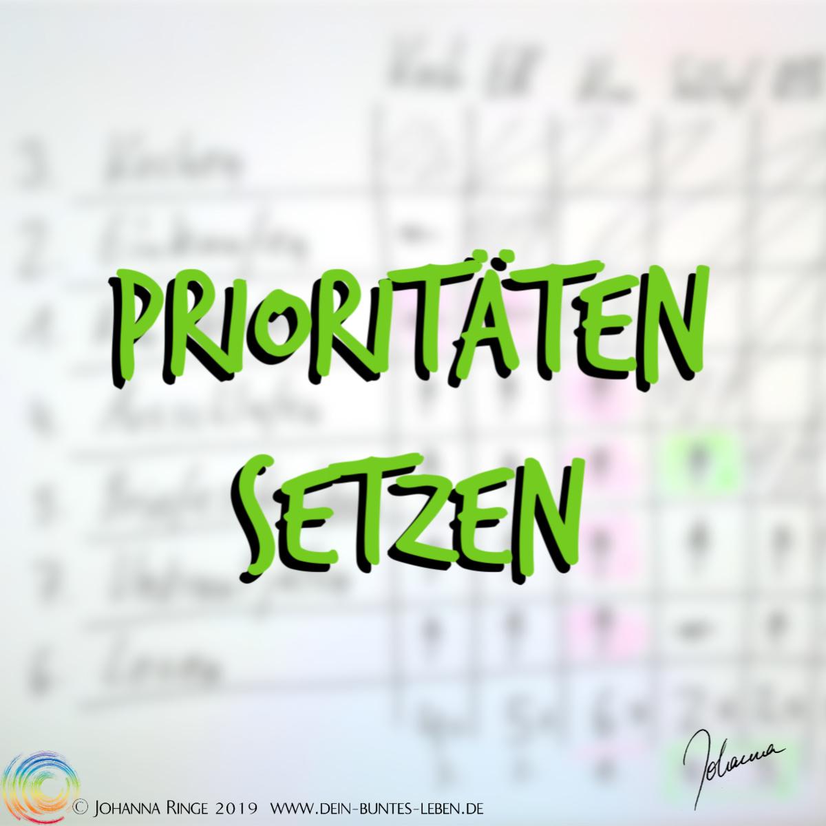 Prioritäten setzen. Text vor Entscheidungsmatrix im Hintergrund. ©Johanna Ringe 2019 www.dein-buntes-leben.de