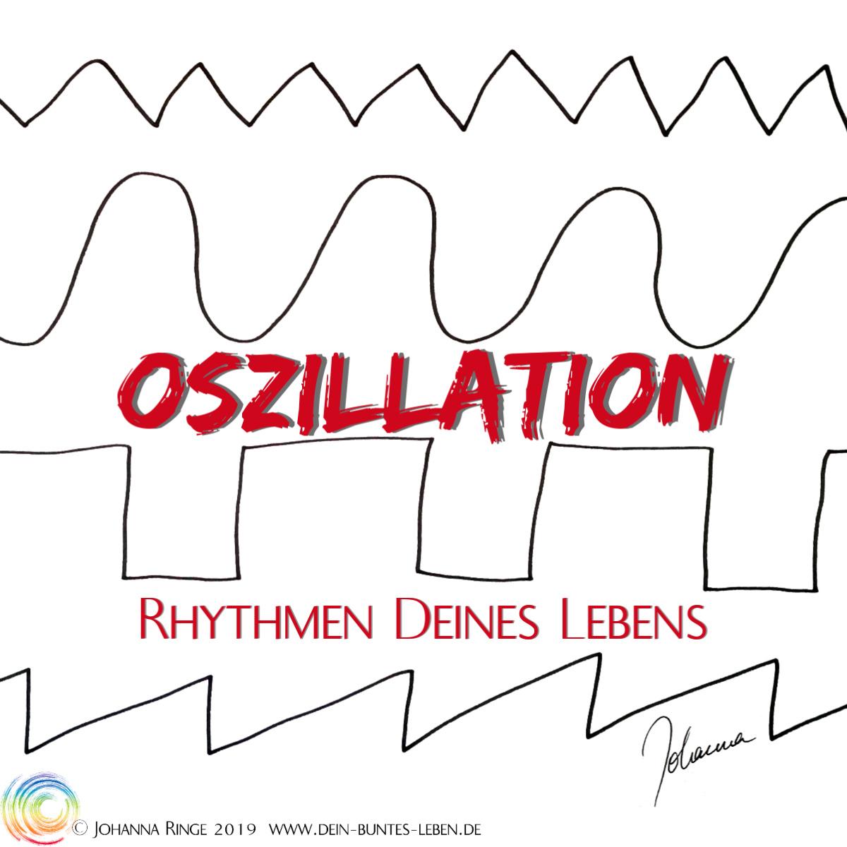 Oszillation, Rhythmen Deines Lebens. Im Hintergrund Wellenformen: Sinus, Rechteck, Dreieck, Sägezahn. ©Johanna Ringe 2019. www.dein-buntes-leben.de