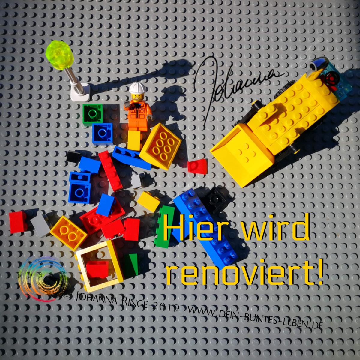 Hier wird renoviert! Photo von Lego Baustelle. ©Johanna Ringe 2019 www.dein-buntes-leben.de