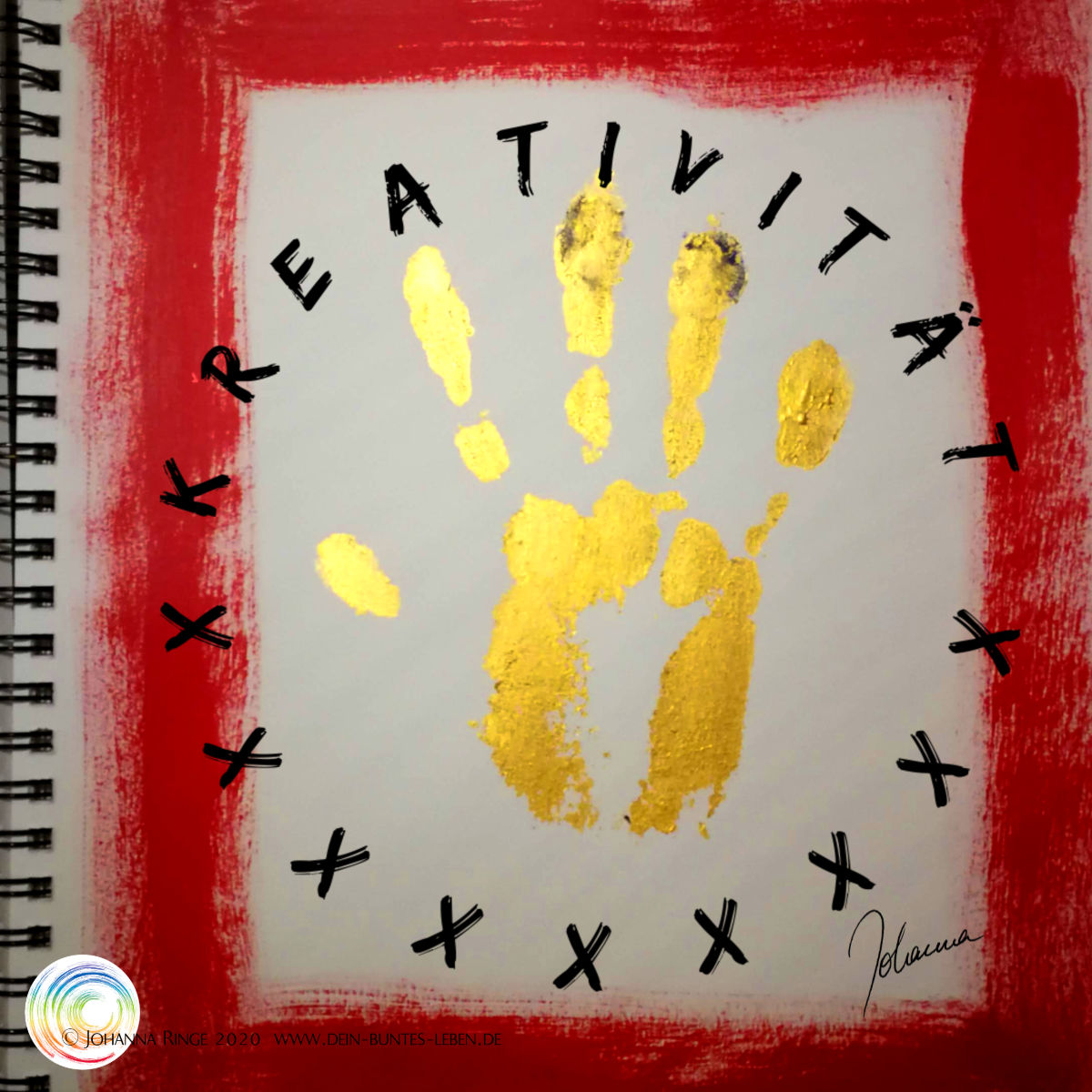 Kreativität hinterlässt Spuren: goldner Handabdruck in rotem Rahmen. ©Johanna Ringe 2020 www.dein-buntes-leben.de