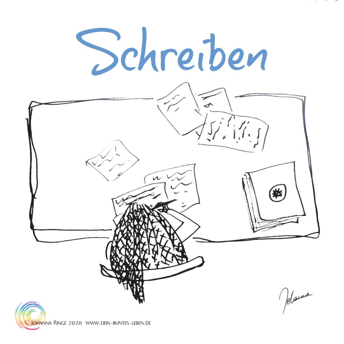 Schreiben: Person am Schreibtisch, der mit leeren und bereits vollgeschriebenen Papieren gefüllt ist. ©2020 Johanna Ringe www.dein-buntes-leben.de