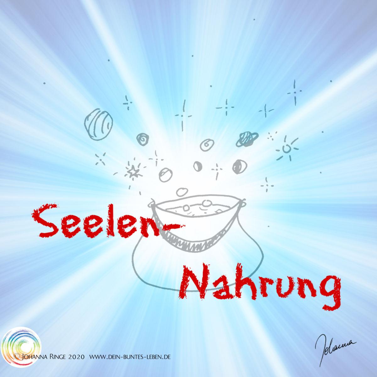 Seelennahrung: Zeichnung eines blubbernden Kessels, aus dem Planeten und Sterne aufsteigen. ©2020 Johanna Ringe www.dein-buntes-leben.de