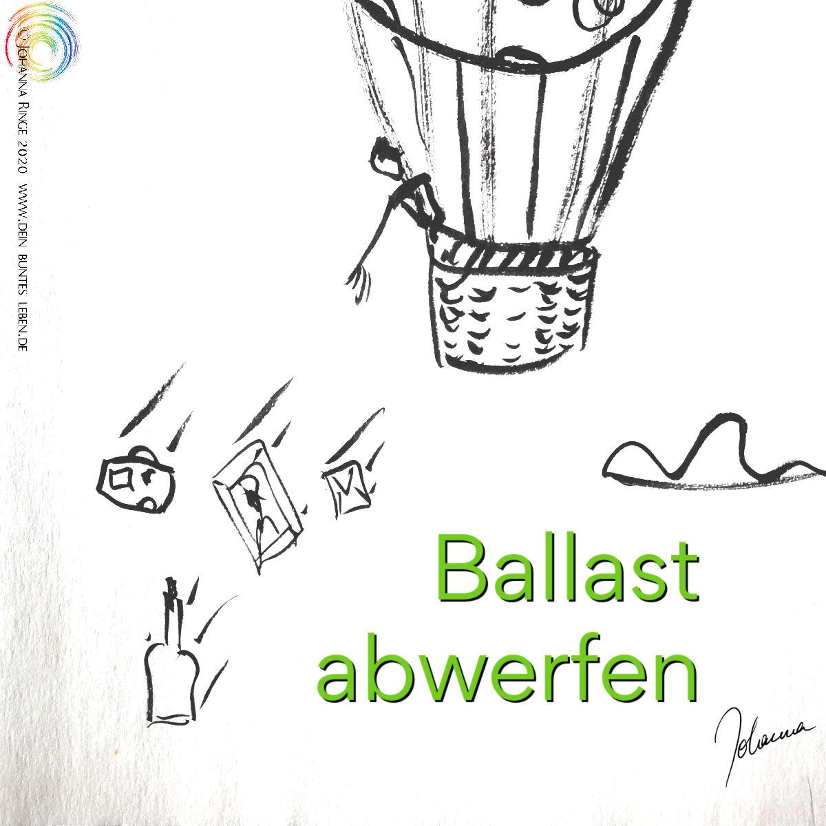 Ballast abwerfen (Text in Zeichung von Ballonfahrer, der Bild, Flasche, Brief und Koffer abwirft) ©Johanna Ringe 2020 www.johannaringe.com