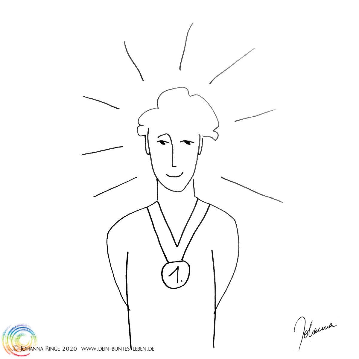Stolz: Ein strahlender Mensch mit einer Medaille um den Hals. (Zeichnung) ©Johanna Ringe 2020 www.dein-buntes-leben.de