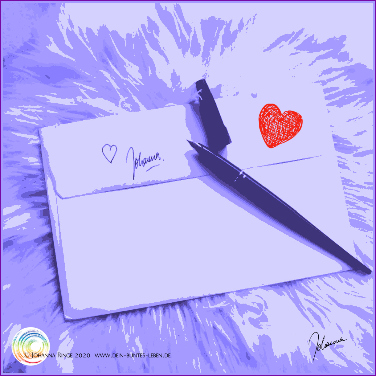 A Loveletter with a scibbled heart and a signature of Johanna©Johanna Ringe 2020 www.johannaringe.com