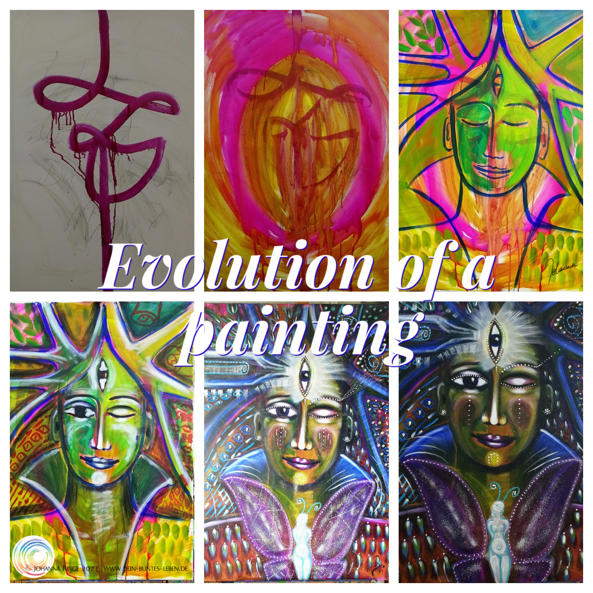 Evolution of a Painting: different stages of one Painting. ©Johanna Ringe 2021 www.johannaringe.com