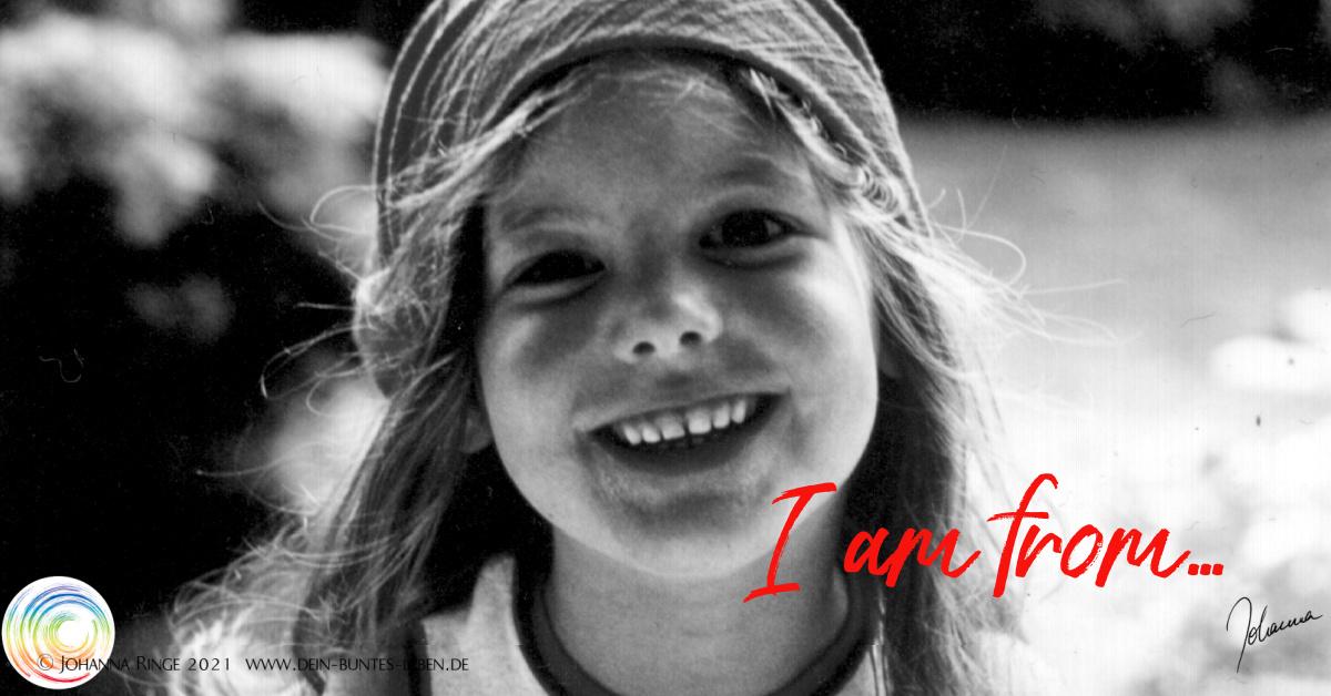I am from.... text auf Photo von Johanna als Kind. ©Johanna Ringe2021 www.johannaringe.com